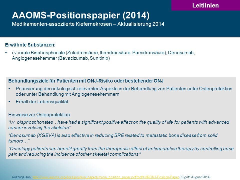 31 AAOMS-Positionspapier (2014) Medikamenten-assoziierte Kiefernekrosen – Aktualisierung 2014 Auszüge aus: http://www.aaoms.org/docs/position_papers/mronj_position_paper.pdf?pdf=MRONJ-Position-Paper (Zugriff August 2014)http://www.aaoms.org/docs/position_papers/mronj_position_paper.pdf?pdf=MRONJ-Position-Paper Erwähnte Substanzen: i.v./orale Bisphosphonate (Zoledronsäure, Ibandronsäure, Pamidronsäure), Denosumab, Angiogenesehemmer (Bevacizumab, Sunitinib) Behandlungsziele für Patienten mit ONJ-Risiko oder bestehender ONJ Priorisierung der onkologisch relevanten Aspekte in der Behandlung von Patienten unter Osteoprotektion oder unter Behandlung mit Angiogenesehemmern Erhalt der Lebensqualität Hinweise zur Osteoprotektion: i.v.