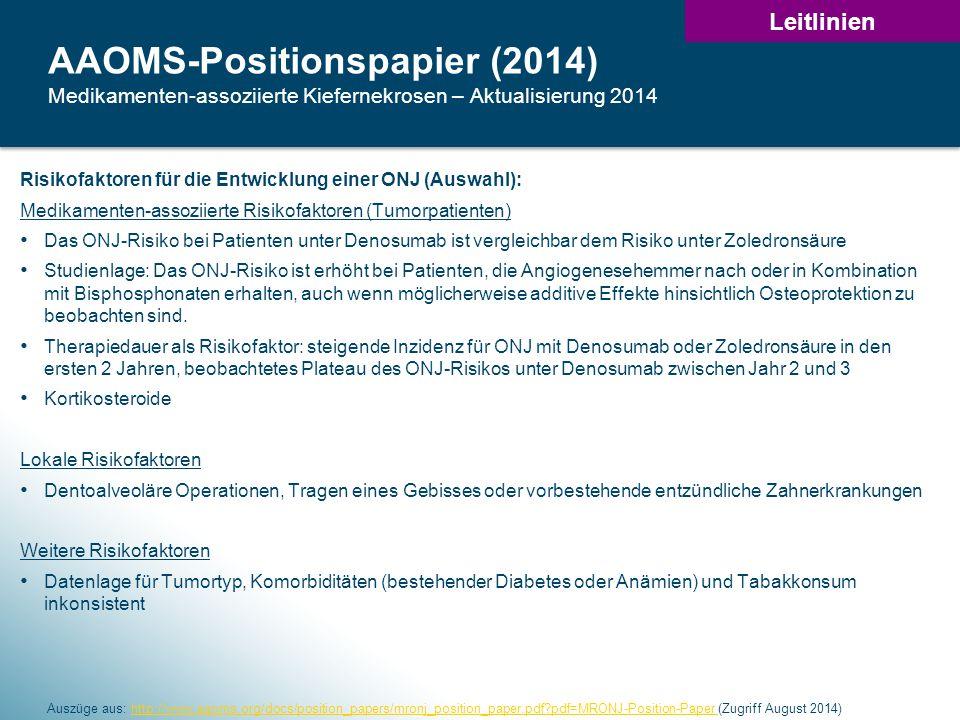 32 AAOMS-Positionspapier (2014) Medikamenten-assoziierte Kiefernekrosen – Aktualisierung 2014 Auszüge aus: http://www.aaoms.org/docs/position_papers/mronj_position_paper.pdf?pdf=MRONJ-Position-Paper (Zugriff August 2014)http://www.aaoms.org/docs/position_papers/mronj_position_paper.pdf?pdf=MRONJ-Position-Paper Risikofaktoren für die Entwicklung einer ONJ (Auswahl): Medikamenten-assoziierte Risikofaktoren (Tumorpatienten) Das ONJ-Risiko bei Patienten unter Denosumab ist vergleichbar dem Risiko unter Zoledronsäure Studienlage: Das ONJ-Risiko ist erhöht bei Patienten, die Angiogenesehemmer nach oder in Kombination mit Bisphosphonaten erhalten, auch wenn möglicherweise additive Effekte hinsichtlich Osteoprotektion zu beobachten sind.