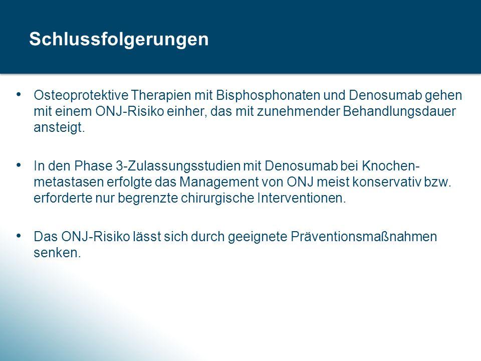Osteoprotektive Therapien mit Bisphosphonaten und Denosumab gehen mit einem ONJ-Risiko einher, das mit zunehmender Behandlungsdauer ansteigt.