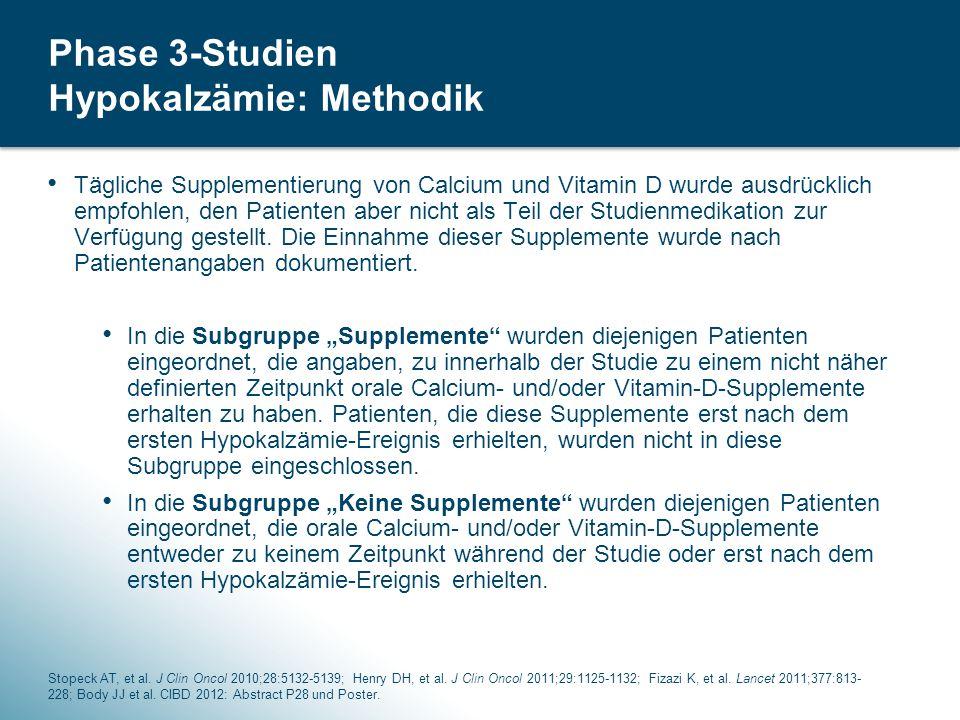 38 Phase 3-Studien Hypokalzämie: Methodik Tägliche Supplementierung von Calcium und Vitamin D wurde ausdrücklich empfohlen, den Patienten aber nicht als Teil der Studienmedikation zur Verfügung gestellt.