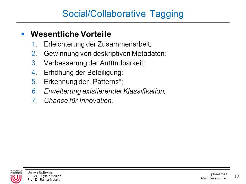 Universität Bremen FB3 AG-Digitale Medien Prof. Dr. Rainer Malaka Diplomarbeit Abschlussvortrag 10 Social/Collaborative Tagging  Wesentliche Vorteile