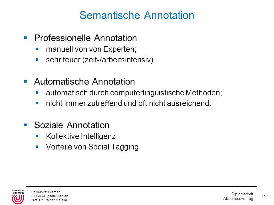 Universität Bremen FB3 AG-Digitale Medien Prof. Dr. Rainer Malaka Diplomarbeit Abschlussvortrag 11 Semantische Annotation  Professionelle Annotation