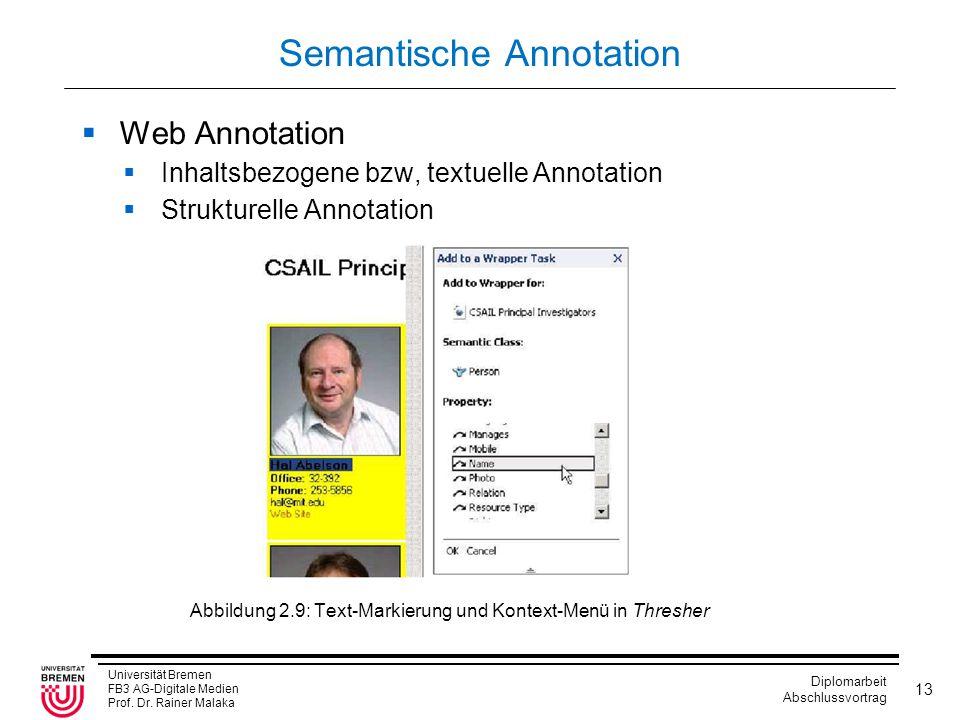 Universität Bremen FB3 AG-Digitale Medien Prof. Dr. Rainer Malaka Diplomarbeit Abschlussvortrag 13 Semantische Annotation  Web Annotation  Inhaltsbe