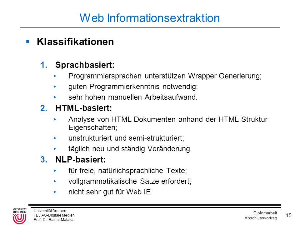 Universität Bremen FB3 AG-Digitale Medien Prof. Dr. Rainer Malaka Diplomarbeit Abschlussvortrag 15 Web Informationsextraktion  Klassifikationen 1.Spra