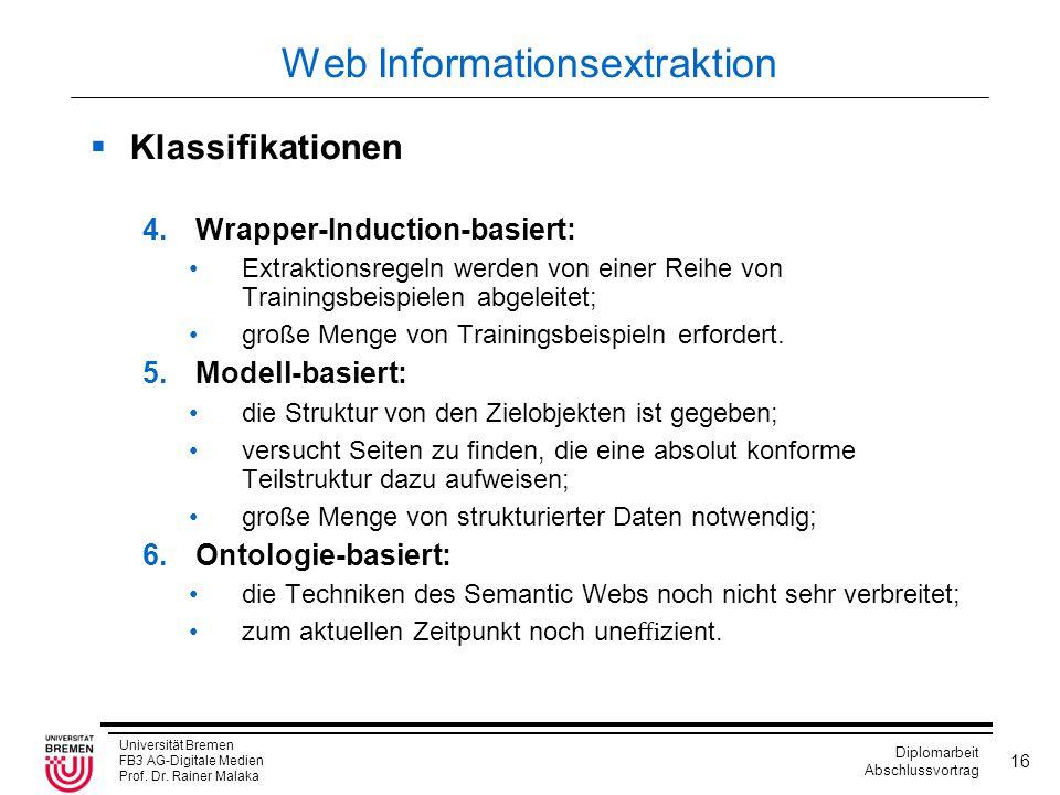 Universität Bremen FB3 AG-Digitale Medien Prof. Dr. Rainer Malaka Diplomarbeit Abschlussvortrag 16 Web Informationsextraktion  Klassifikationen 4.Wrap
