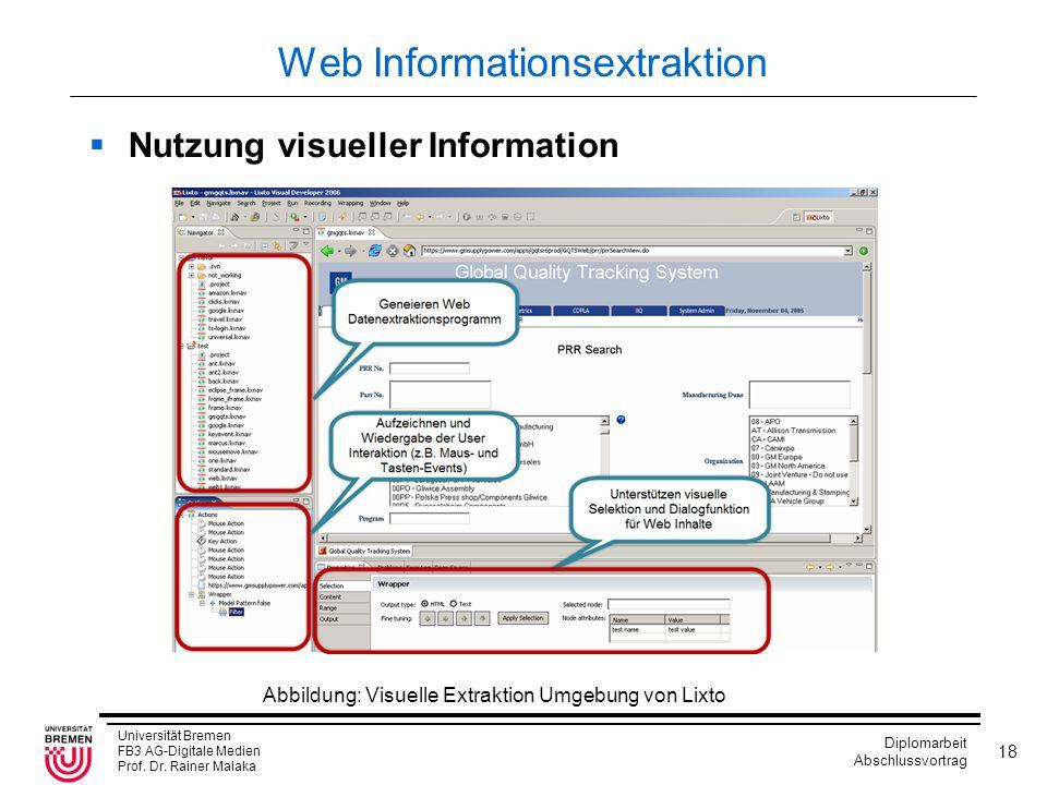 Universität Bremen FB3 AG-Digitale Medien Prof. Dr. Rainer Malaka Diplomarbeit Abschlussvortrag 18 Web Informationsextraktion  Nutzung visueller Info