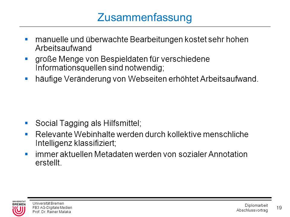 Universität Bremen FB3 AG-Digitale Medien Prof. Dr. Rainer Malaka Diplomarbeit Abschlussvortrag 19 Zusammenfassung  manuelle und überwachte Bearbeitu