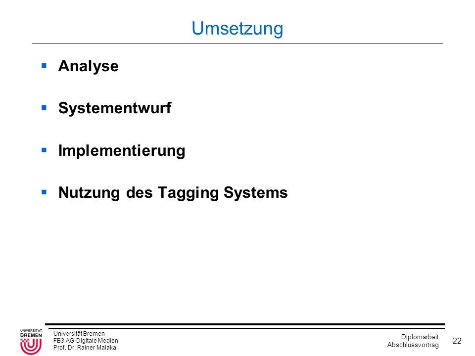 Universität Bremen FB3 AG-Digitale Medien Prof. Dr. Rainer Malaka Diplomarbeit Abschlussvortrag 22 Umsetzung  Analyse  Systementwurf  Implementieru
