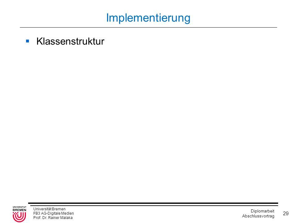 Universität Bremen FB3 AG-Digitale Medien Prof. Dr. Rainer Malaka Diplomarbeit Abschlussvortrag 29 Implementierung  Klassenstruktur