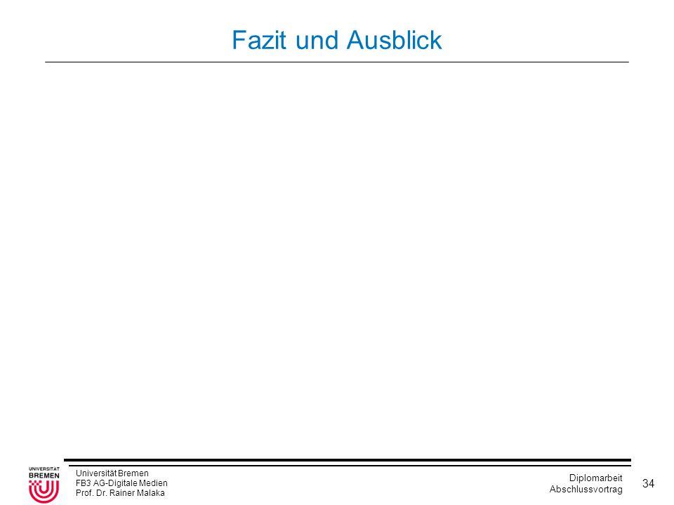 Universität Bremen FB3 AG-Digitale Medien Prof. Dr. Rainer Malaka Diplomarbeit Abschlussvortrag 34 Fazit und Ausblick