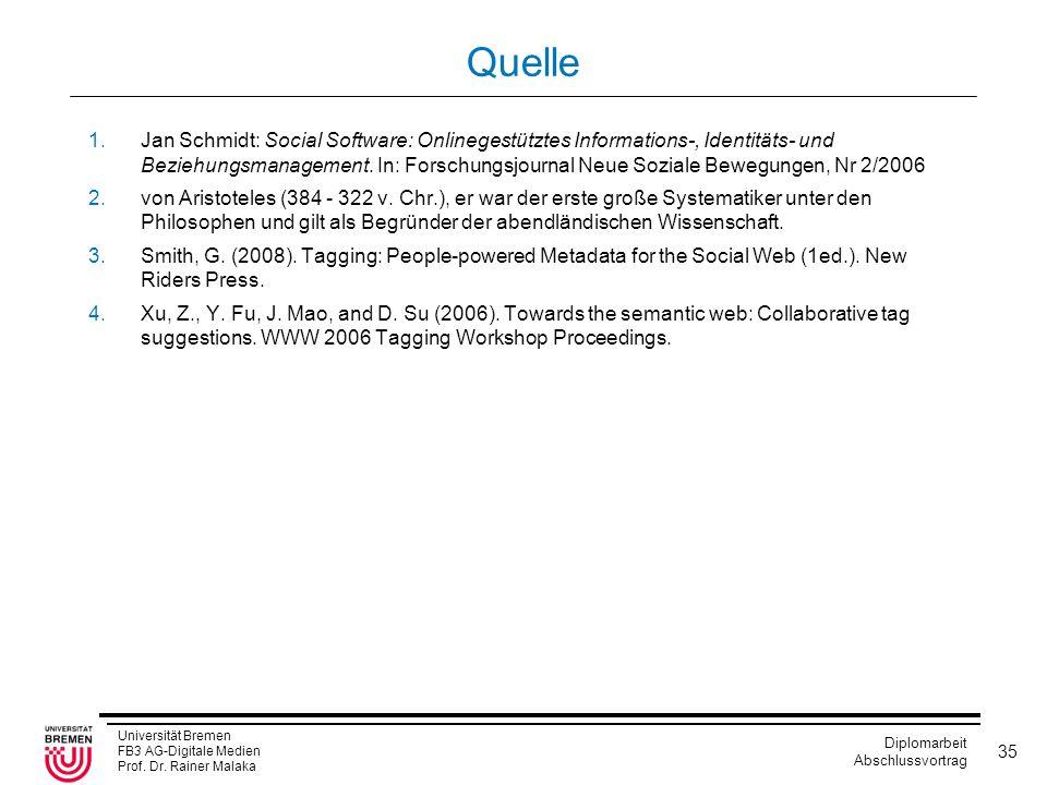 Universität Bremen FB3 AG-Digitale Medien Prof. Dr. Rainer Malaka Diplomarbeit Abschlussvortrag 35 Quelle 1.Jan Schmidt: Social Software: Onlinegestüt
