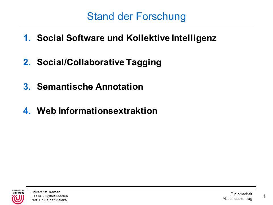 Universität Bremen FB3 AG-Digitale Medien Prof. Dr. Rainer Malaka Diplomarbeit Abschlussvortrag 4 Stand der Forschung 1.Social Software und Kollektive