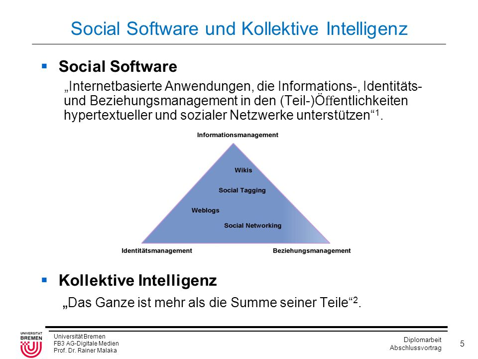 Universität Bremen FB3 AG-Digitale Medien Prof. Dr. Rainer Malaka Diplomarbeit Abschlussvortrag 5 Social Software und Kollektive Intelligenz  Social