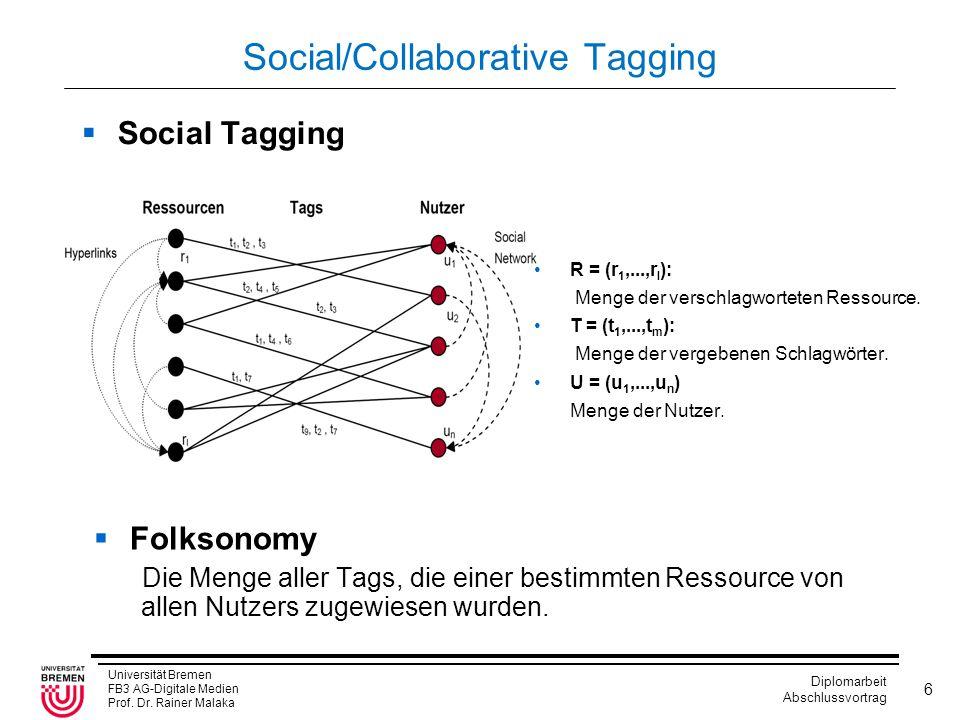 Universität Bremen FB3 AG-Digitale Medien Prof. Dr. Rainer Malaka Diplomarbeit Abschlussvortrag 6 Social/Collaborative Tagging  Social Tagging R = (r