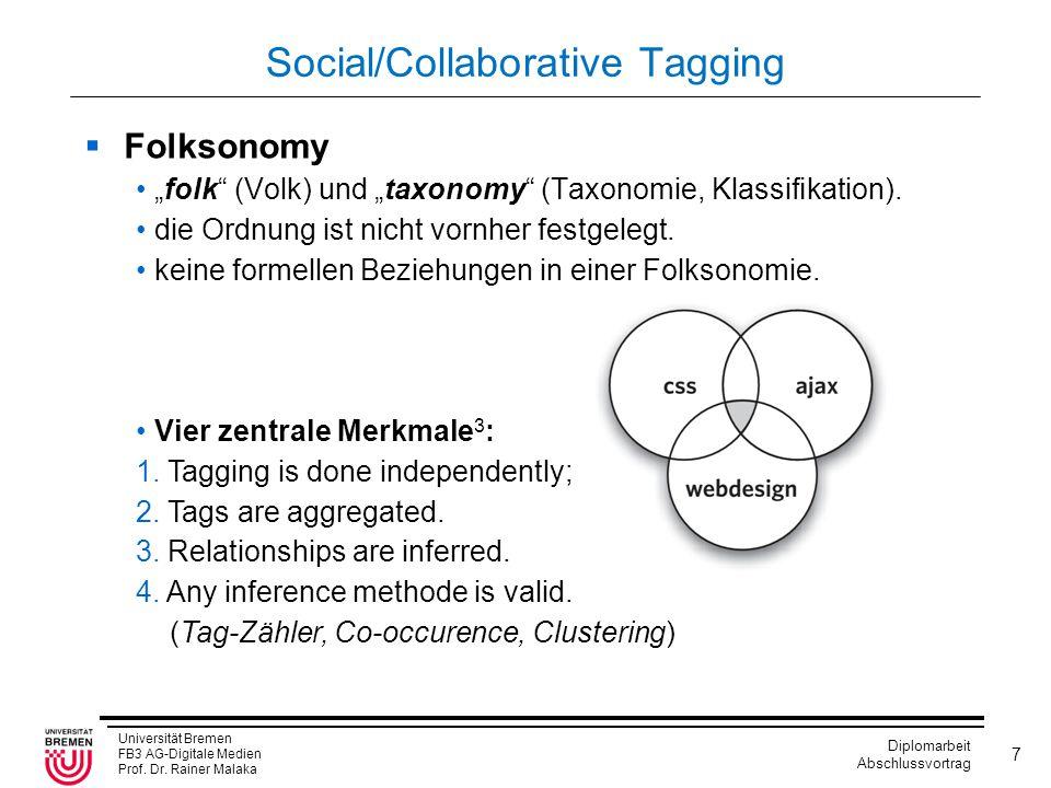 "Universität Bremen FB3 AG-Digitale Medien Prof. Dr. Rainer Malaka Diplomarbeit Abschlussvortrag 7 Social/Collaborative Tagging  Folksonomy ""folk"" (Vo"