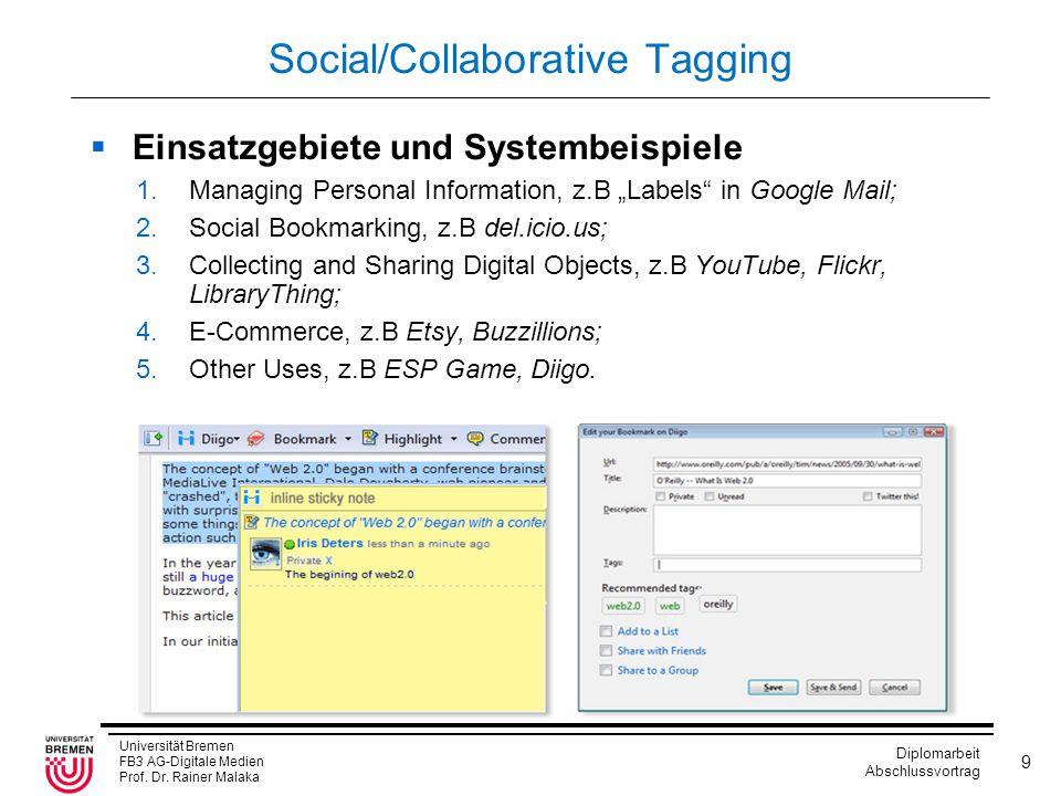 Universität Bremen FB3 AG-Digitale Medien Prof. Dr. Rainer Malaka Diplomarbeit Abschlussvortrag 9 Social/Collaborative Tagging  Einsatzgebiete und Sy