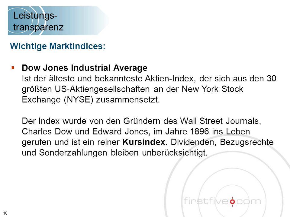  Dow Jones Industrial Average Ist der älteste und bekannteste Aktien-Index, der sich aus den 30 größten US-Aktiengesellschaften an der New York Stock Exchange (NYSE) zusammensetzt.
