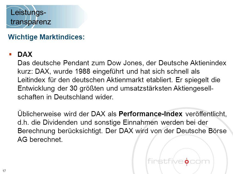  DAX Das deutsche Pendant zum Dow Jones, der Deutsche Aktienindex kurz: DAX, wurde 1988 eingeführt und hat sich schnell als Leitindex für den deutschen Aktienmarkt etabliert.