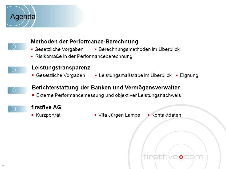 2 Agenda Methoden der Performance-Berechnung ■ Gesetzliche Vorgaben ■ Berechnungsmethoden im Überblick ■ Risikomaße in der Performanceberechnung Leist