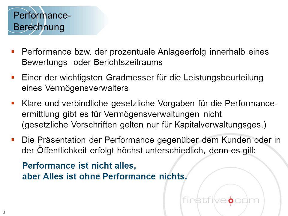  Performance bzw. der prozentuale Anlageerfolg innerhalb eines Bewertungs- oder Berichtszeitraums  Einer der wichtigsten Gradmesser für die Leistung