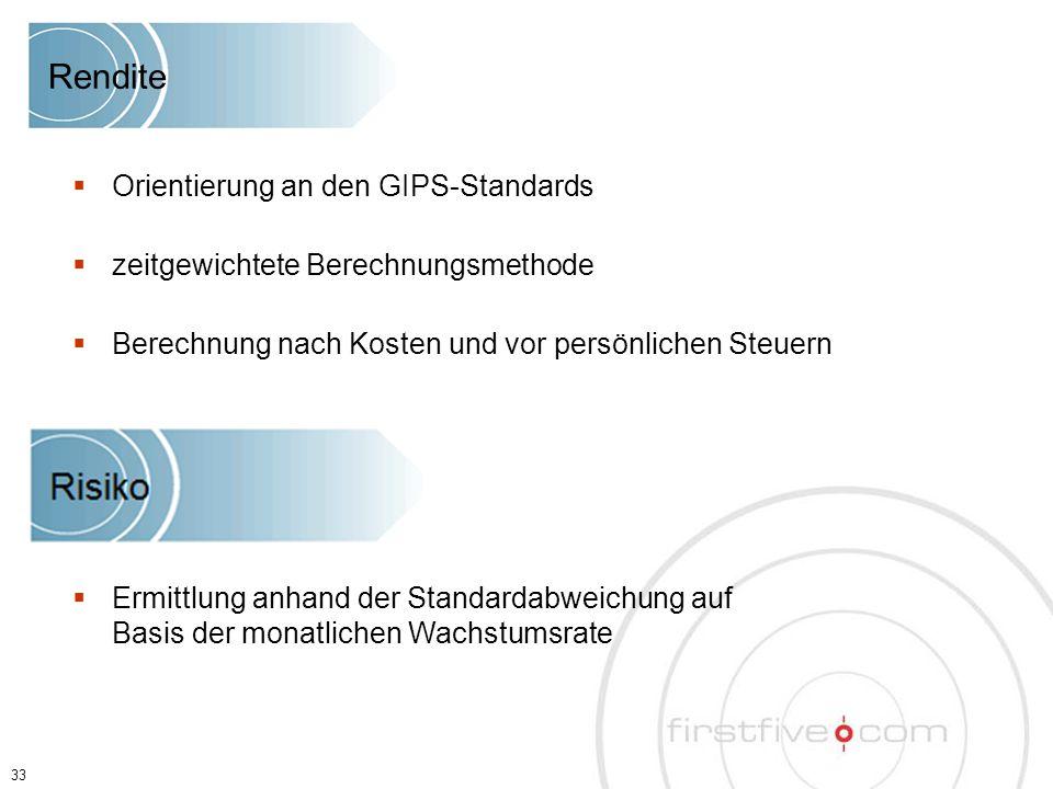 33  Orientierung an den GIPS-Standards  zeitgewichtete Berechnungsmethode  Berechnung nach Kosten und vor persönlichen Steuern  Ermittlung anhand