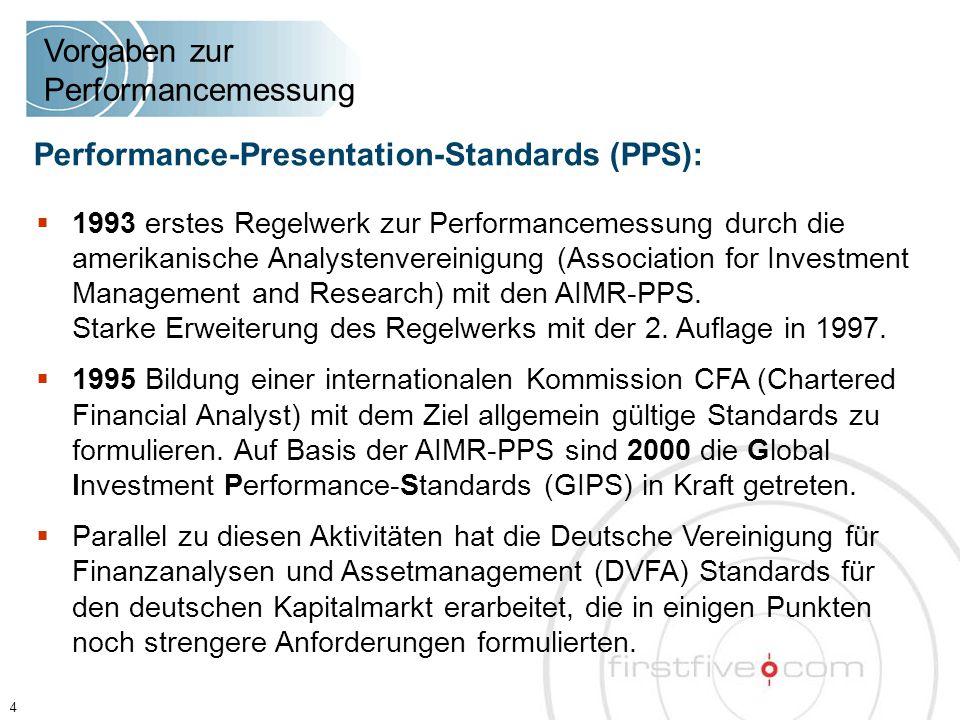  1993 erstes Regelwerk zur Performancemessung durch die amerikanische Analystenvereinigung (Association for Investment Management and Research) mit den AIMR-PPS.