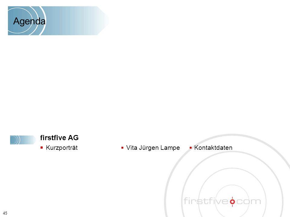 45 Agenda firstfive AG ■ Kurzporträt ■ Vita Jürgen Lampe ■ Kontaktdaten