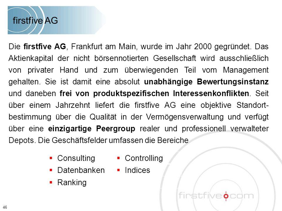 Die firstfive AG, Frankfurt am Main, wurde im Jahr 2000 gegründet. Das Aktienkapital der nicht börsennotierten Gesellschaft wird ausschließlich von pr