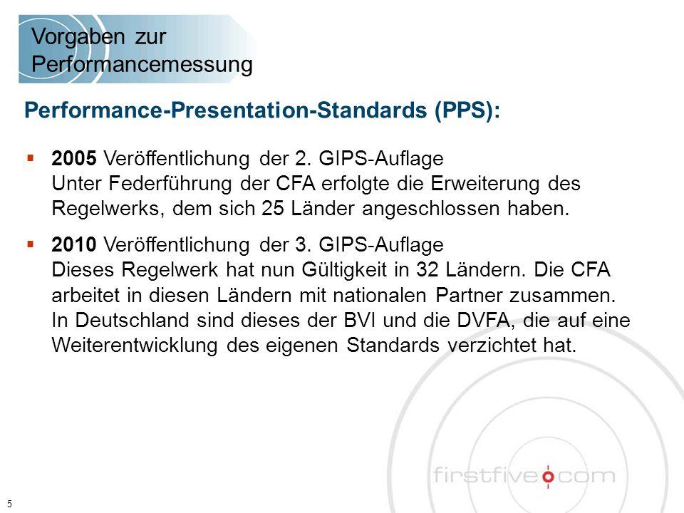  2005 Veröffentlichung der 2. GIPS-Auflage Unter Federführung der CFA erfolgte die Erweiterung des Regelwerks, dem sich 25 Länder angeschlossen haben