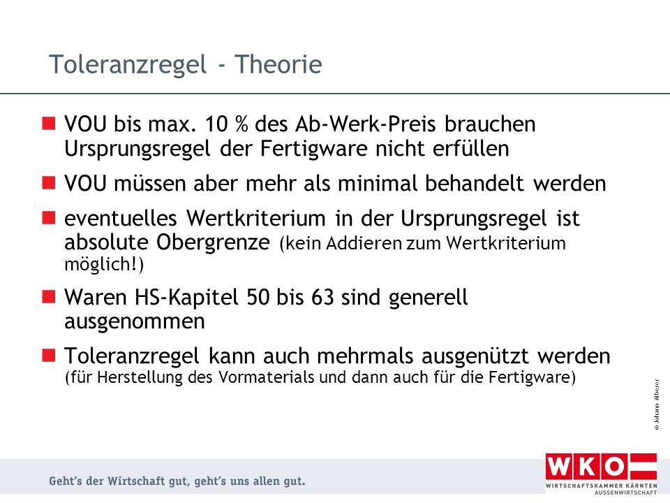 © Johann Alberer Toleranzregel - Theorie VOU bis max. 10 % des Ab-Werk-Preis brauchen Ursprungsregel der Fertigware nicht erfüllen VOU müssen aber meh