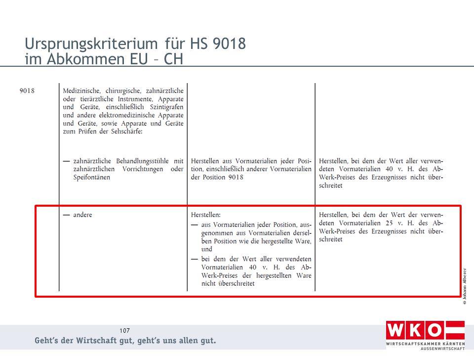 © Johann Alberer Ursprungskriterium für HS 9018 im Abkommen EU – CH 107