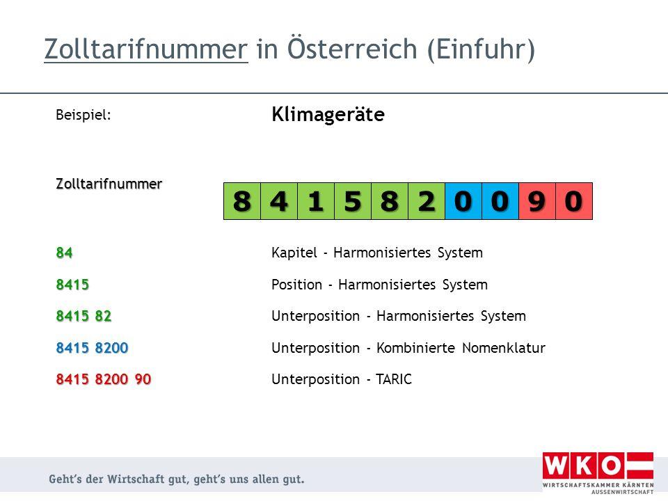 Beispiel: Klimageräte Zolltarifnummer 84Kapitel - Harmonisiertes System 8415Position - Harmonisiertes System 8415 82 Unterposition - Harmonisiertes Sy