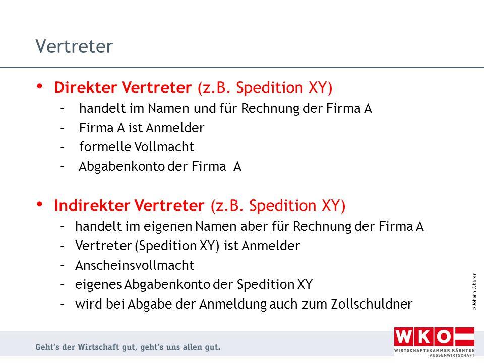 © Johann Alberer Vertreter Direkter Vertreter (z.B. Spedition XY) – handelt im Namen und für Rechnung der Firma A – Firma A ist Anmelder – formelle Vo