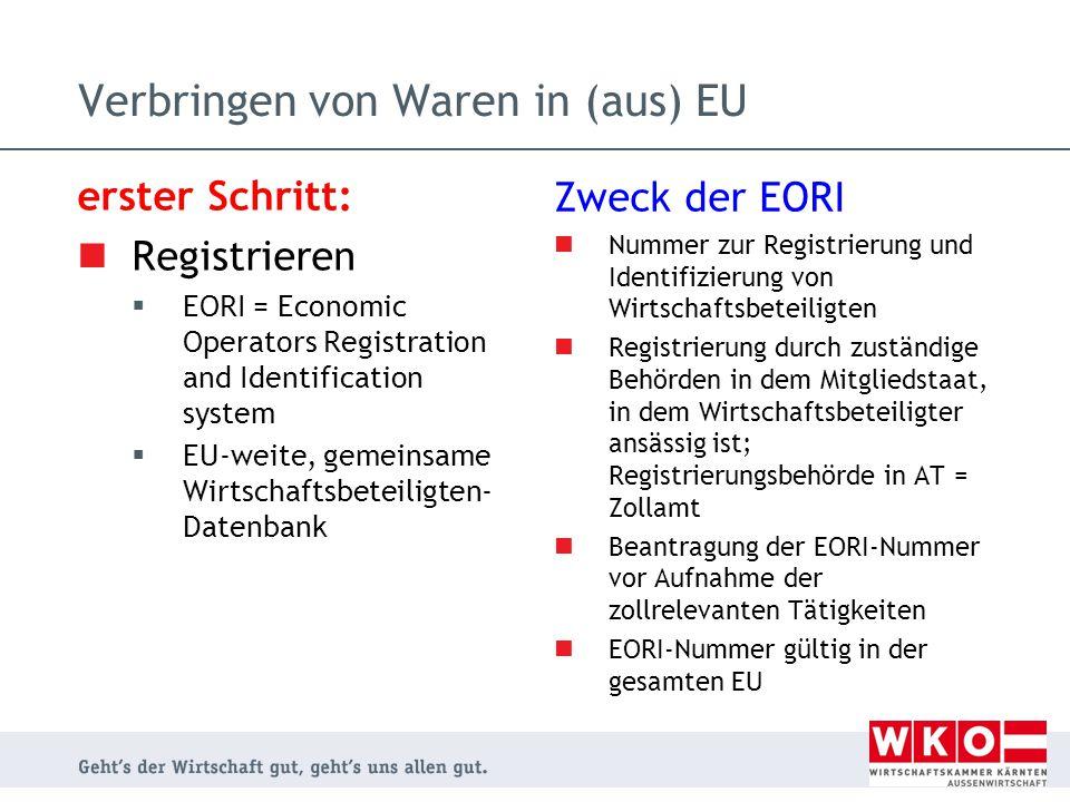 erster Schritt: Registrieren  EORI = Economic Operators Registration and Identification system  EU-weite, gemeinsame Wirtschaftsbeteiligten- Datenba