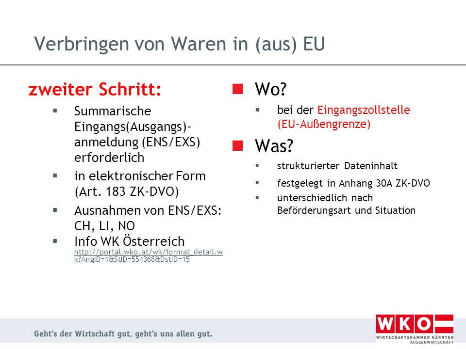 zweiter Schritt:  Summarische Eingangs(Ausgangs)- anmeldung (ENS/EXS) erforderlich  in elektronischer Form (Art. 183 ZK-DVO)  Ausnahmen von ENS/EXS