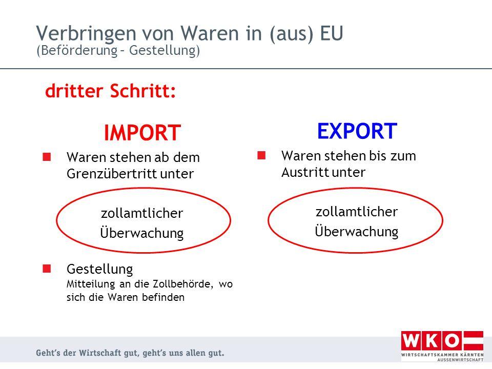 IMPORT Waren stehen ab dem Grenzübertritt unter zollamtlicher Überwachung Gestellung Mitteilung an die Zollbehörde, wo sich die Waren befinden EXPORT