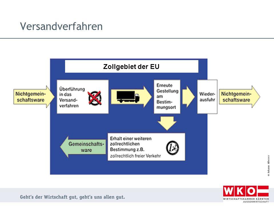© Johann Alberer Zollgebiet der EU Versandverfahren