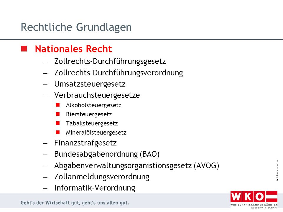 © Johann Alberer TARIC Online http://ec.europa.eu/taxation_customs/common/databases/index_de.htm