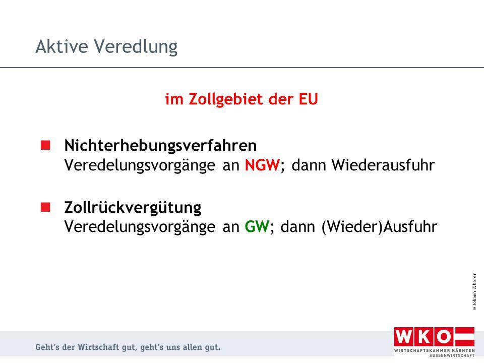 © Johann Alberer Aktive Veredlung im Zollgebiet der EU Nichterhebungsverfahren Veredelungsvorgänge an NGW; dann Wiederausfuhr Zollrückvergütung Verede