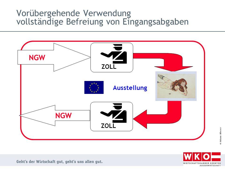 © Johann Alberer Vorübergehende Verwendung vollständige Befreiung von Eingangsabgaben NGW Ausstellung ZOLL