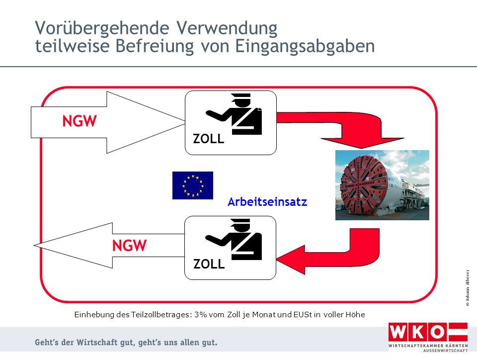 © Johann Alberer Vorübergehende Verwendung teilweise Befreiung von Eingangsabgaben NGW Arbeitseinsatz ZOLL Einhebung des Teilzollbetrages: 3% vom Zoll