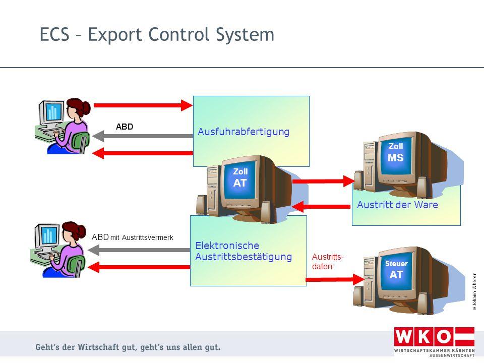 © Johann Alberer ECS – Export Control System Austritt der Ware Ausfuhrabfertigung ABD Elektronische Austrittsbestätigung ABD mit Austrittsvermerk Zoll