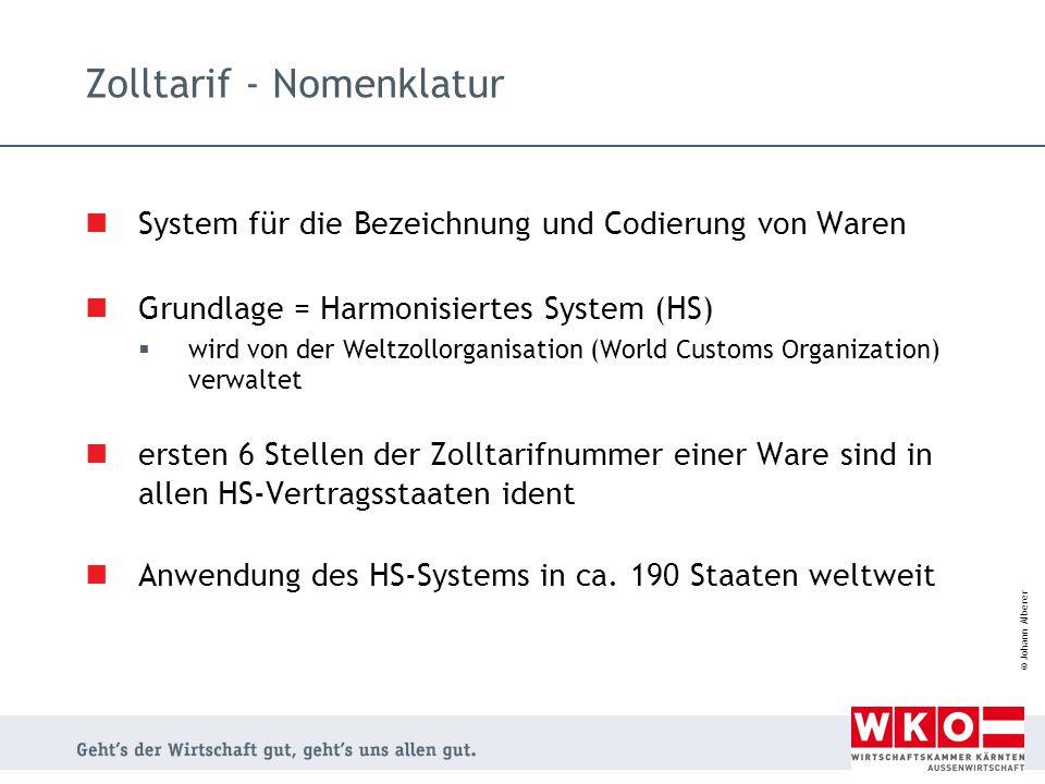 © Johann Alberer Zolltarif - Nomenklatur System für die Bezeichnung und Codierung von Waren Grundlage = Harmonisiertes System (HS)  wird von der Welt