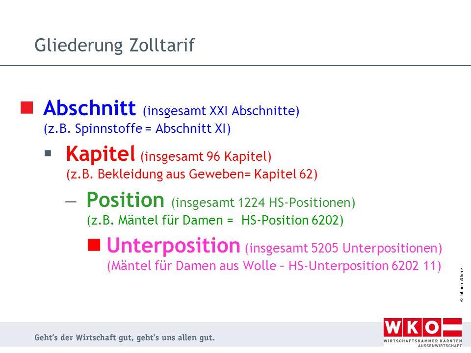 © Johann Alberer Gliederung Zolltarif Abschnitt (insgesamt XXI Abschnitte) (z.B. Spinnstoffe = Abschnitt XI)  Kapitel (insgesamt 96 Kapitel) (z.B. Be
