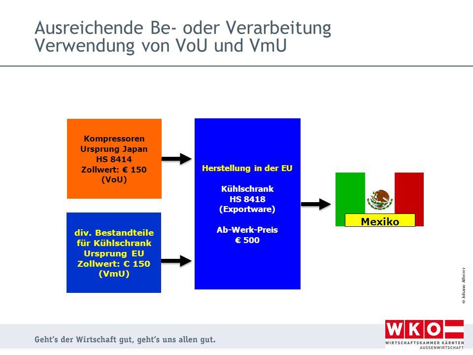 © Johann Alberer Ausreichende Be- oder Verarbeitung Verwendung von VoU und VmU Herstellung in der EU Kühlschrank HS 8418 (Exportware) Ab-Werk-Preis €