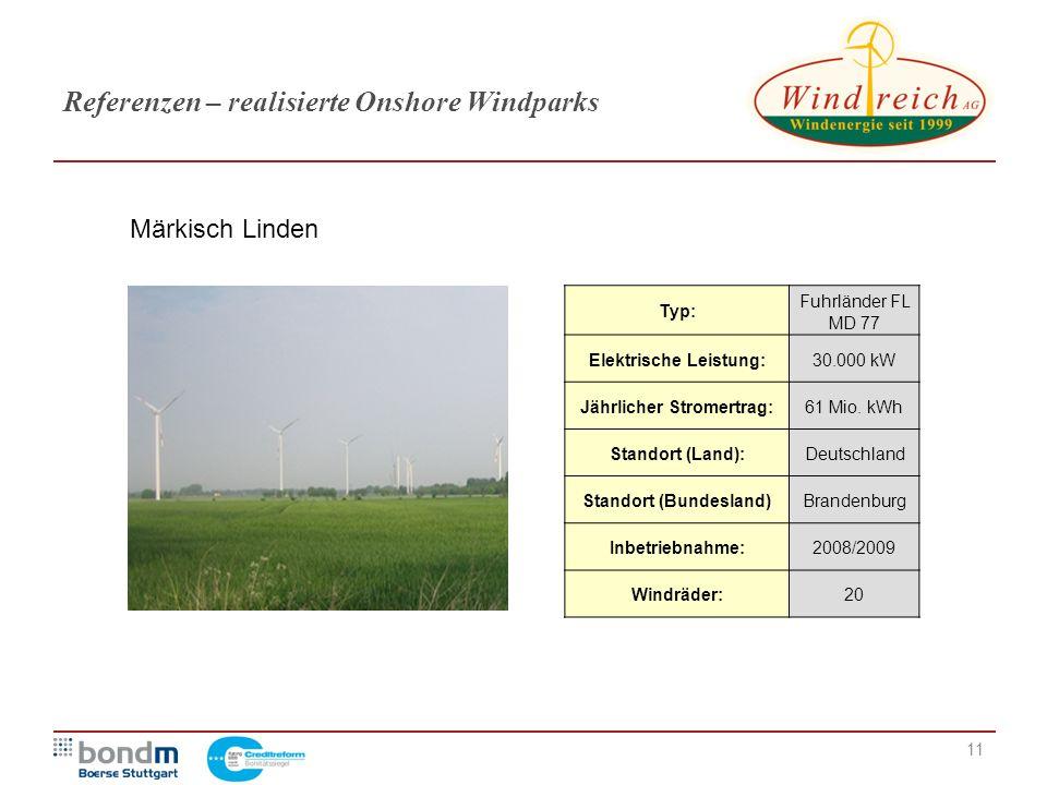 11 Referenzen – realisierte Onshore Windparks Typ: Fuhrländer FL MD 77 Elektrische Leistung:30.000 kW Jährlicher Stromertrag:61 Mio. kWh Standort (Lan