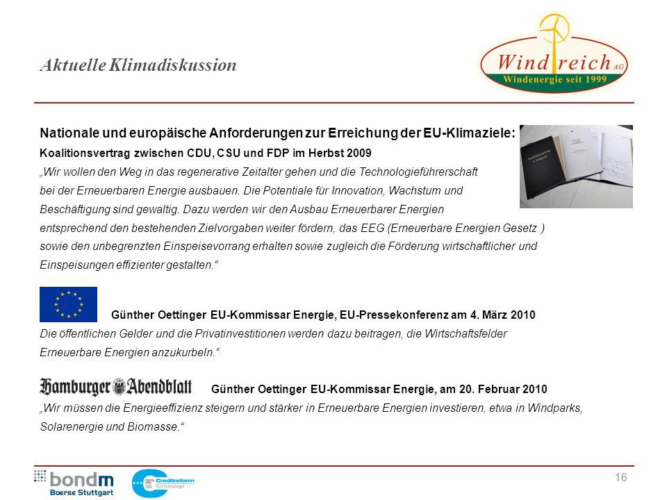 16 Aktuelle Klimadiskussion Nationale und europäische Anforderungen zur Erreichung der EU-Klimaziele: Koalitionsvertrag zwischen CDU, CSU und FDP im H