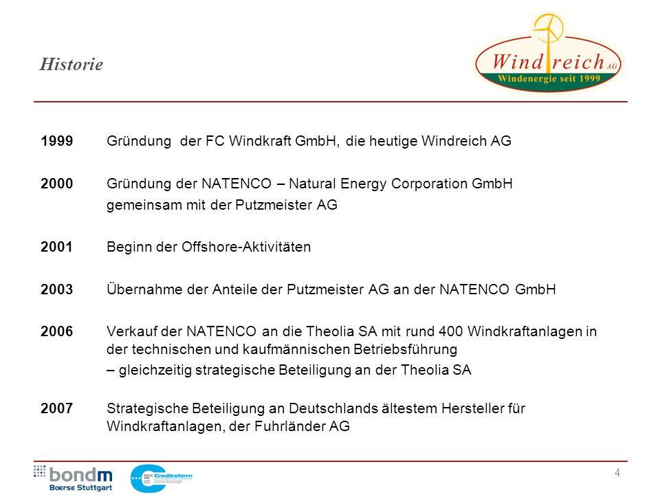 4 Historie 1999Gründung der FC Windkraft GmbH, die heutige Windreich AG 2000Gründung der NATENCO – Natural Energy Corporation GmbH gemeinsam mit der P