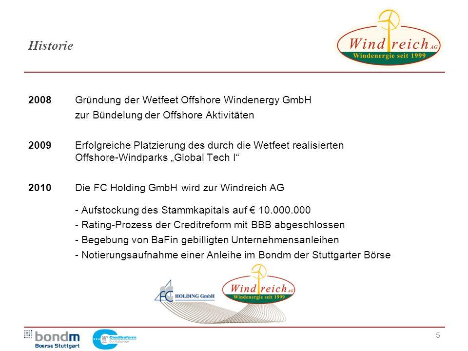 5 Historie 2008Gründung der Wetfeet Offshore Windenergy GmbH zur Bündelung der Offshore Aktivitäten 2009Erfolgreiche Platzierung des durch die Wetfeet