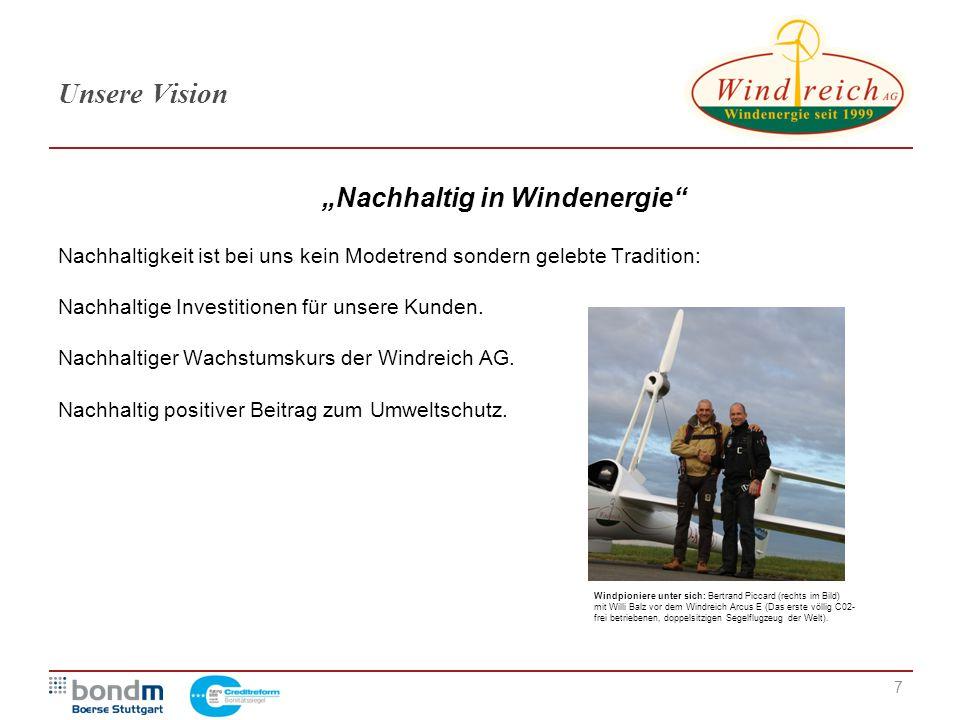 """7 Unsere Vision """"Nachhaltig in Windenergie"""" Nachhaltigkeit ist bei uns kein Modetrend sondern gelebte Tradition: Nachhaltige Investitionen für unsere"""